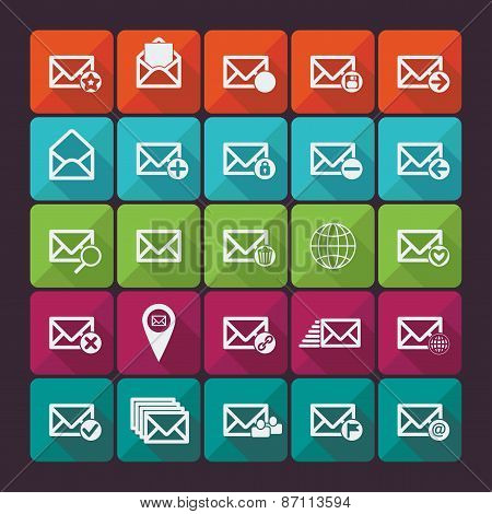 Set of twenty five flat vector mail icons. Vector illustration.