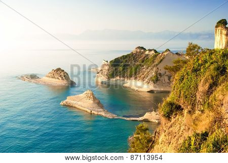 Loggas beach (Peroulades beach, Sunset beach) Corfu Island, Greece