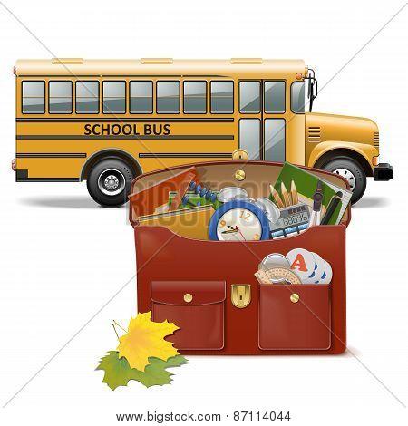 Vector Schoolbag And Bus
