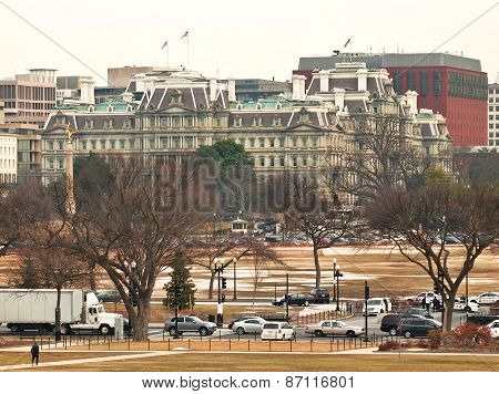 view of the Eisenhower Executive Office Bulding Pennsylvania Avenue Washington DC poster