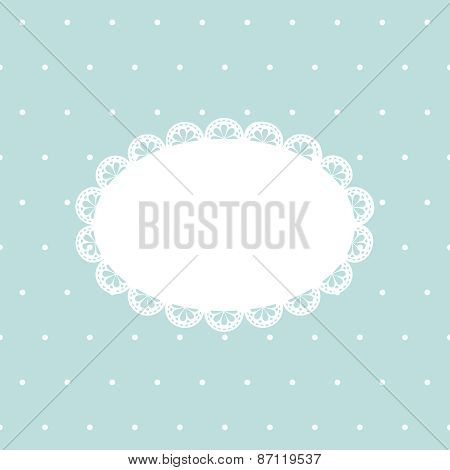 Vintage background with empty lace frame on blue polka dot texture