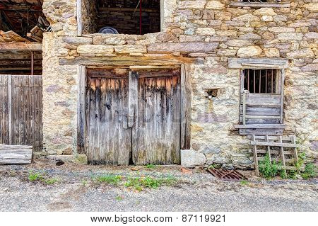 Old Beaten Barn Doors In The South Of France