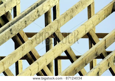 Wooden rafters on top of new house