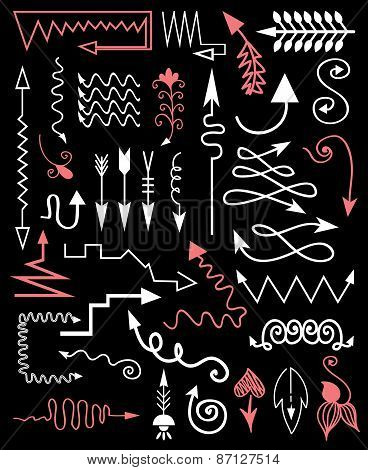 Vector Hand Drawn Arrows On A Black Background.