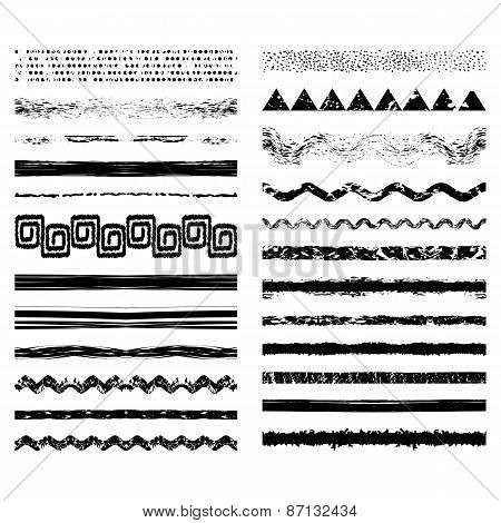 Vector Set Of Seamless Brush Strokes Or Dividers.