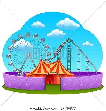 Amusement part concept with rollercoaster ferris wheel and marquee tent vector illustration poster
