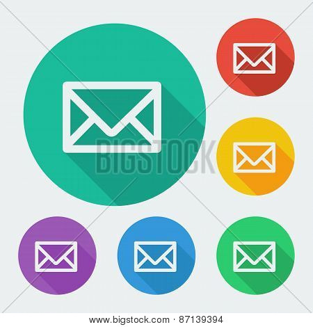 Mail icon, simple envelope. Flat design vector illustration.