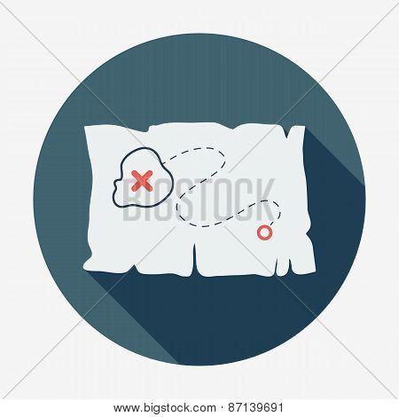 Pirate or sea icon, treasure map. Flat design vector illustration.