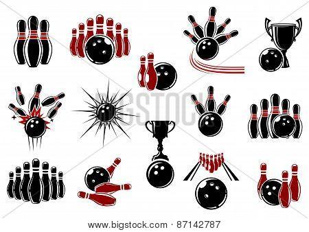 Bowling symbols with equipment and comics elements