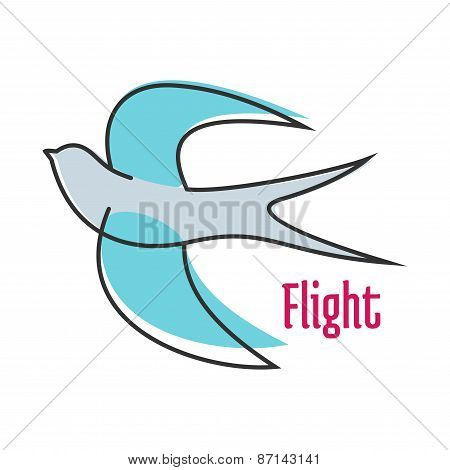Flying blue swallow in outline style