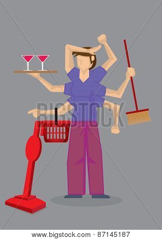 Busy Housewife Multi-tasking Vector Illustration