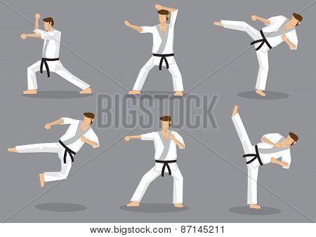 Karate Taekwondo Kicks And Punches Vector Icon Set