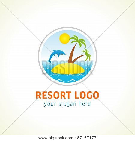 Dolphin jumping above waves. Sea, sun, resort island with palm trees. Branding identity logo of hotels, tourist business, spa, beach service, healthcare, or hotel by the ocean. Summer holidays symbol.