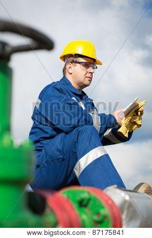 Worker on the oil field