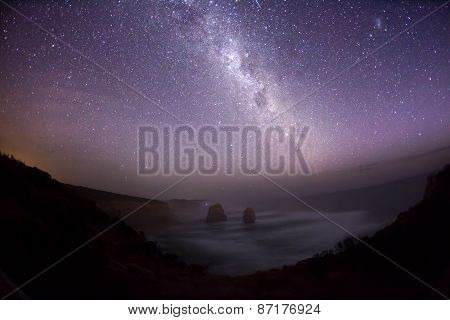 Night sky in the southern hemisphere with milky way