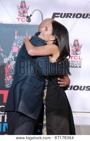 LOS ANGELES - APR 1:  Vin Diesel, Jordana Brewster at the Vin Diesel Hand and Foot Print Ceremony at the TCL Chinese Theater on April 1, 2015 in Los Angeles, CA