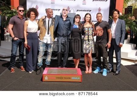 LOS ANGELES - APR 1:  Vin Diesel, Furious 7 Cast and Crew at the Vin Diesel Hand and Foot Print Ceremony at the TCL Chinese Theater on April 1, 2015 in Los Angeles, CA
