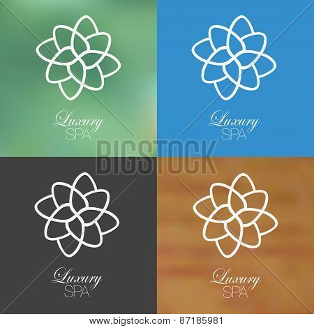 Linear floral spa design against solid and blurred background.