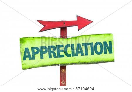 Appreciation sign isolated on white poster