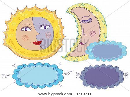 Vector sun moon and clouds