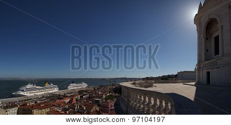 National Pantheon Dome Profile Over Tagus River And Alfama