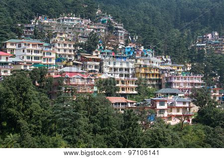 Houses At Himalaya Mountains In Dharamshala, India