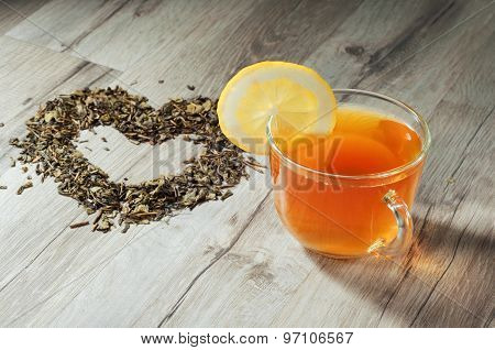 Cups Of Tea On Wooden Table