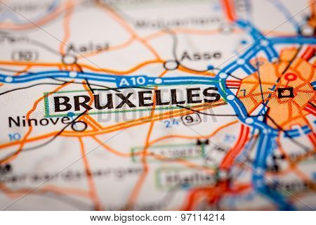 Bruxelles City On A Road Map