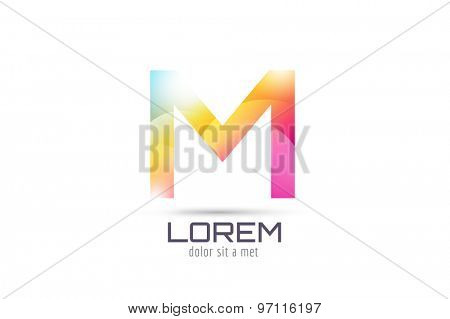 Vector M logo template. Abstract arrow shape and symbol, icon, text or creative, idea, flow. Stock illustration. Isolated on white background.
