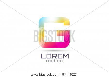Vector G logo template. Abstract arrow shape and symbol, icon, text or creative, idea, flow. Stock illustration. Isolated on white background.
