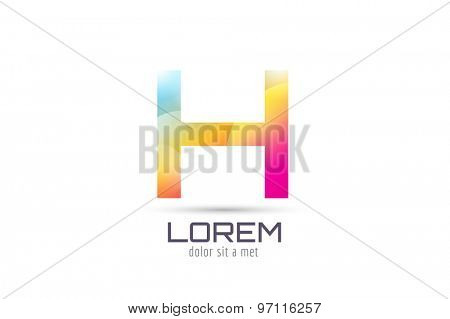 Vector H logo template. Abstract arrow shape and symbol, icon, text or creative, idea, flow. Stock illustration. Isolated on white background.