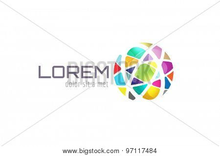 Vector globe abstract logo template. Circle shape and symbol, icon, creative, idea, flow, earth, lines, net. Company logo. Vector icon. Stock illustration. Isolated on white.