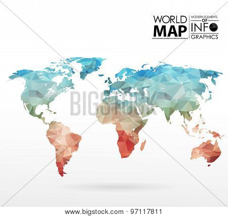 World map background in polygon