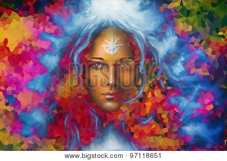 mystic face women with color background collage. eye contact poster