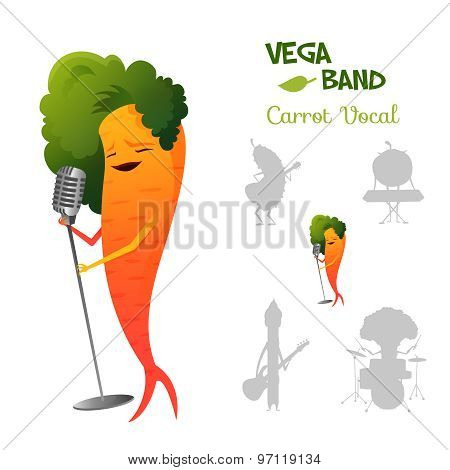 Pretty red carrot character singing a song in retro microphone with band. Vegaband characters concep