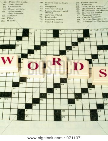 Crossword Puzzle And Raised Letters