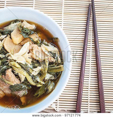 Chinese vegetable stew closeup, asian food (Jab Chai)