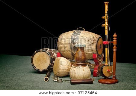 Set Of Traditional Thai Musical Instruments
