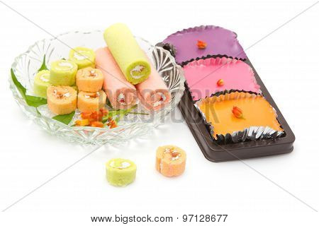 Colorful Pudding Custard Cakes And Cake Roll ,sweet Cake Delicious