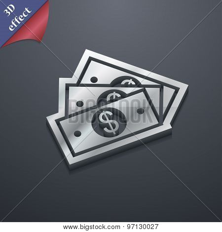 U.s Dollar Icon Symbol. 3D Style. Trendy, Modern Design With Space For Your Text Vector