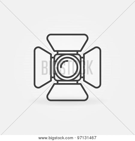 Spotlight icon or logo - vector symbol in thin line style poster
