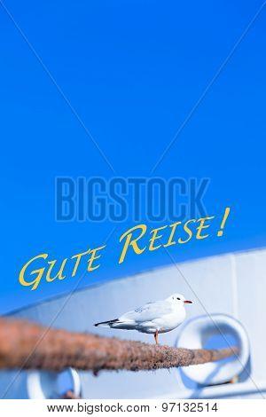 Seagull and Harbor Travel Scene - Gute Reise (German, Bon Voyage)
