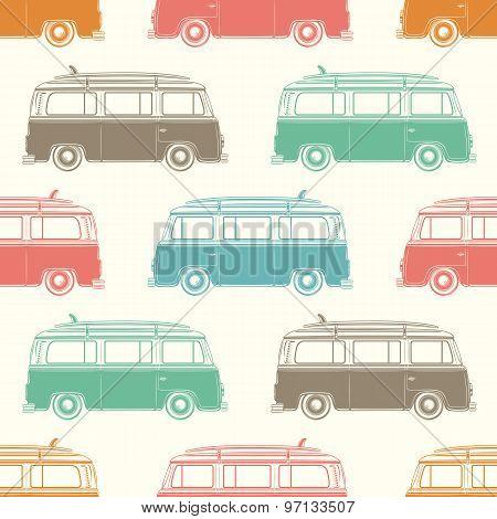 Retro camper van with surfing board. Seamless pattern.