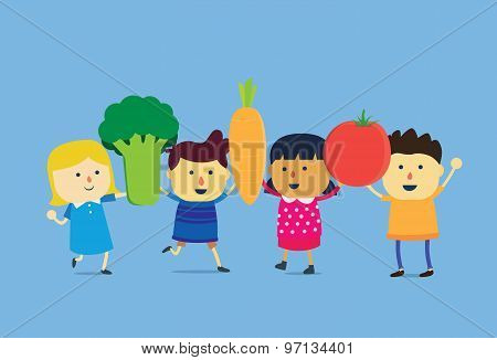 Children lift a big vegetable