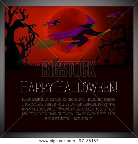 Big halloween banner with illustration of witches on the red moony background and scary tree branche