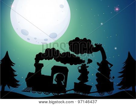 Silhouette train ride on fullmoon night