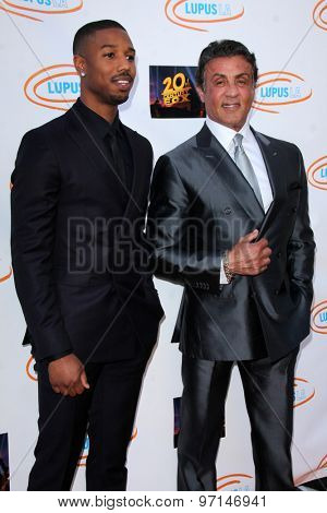 LOS ANGELES - JUN 6:  Michael B Jordan, Sylvester Stallone at the Lupus LA Orange Ball  at the Fox Studios on June 6, 2015 in Century City, CA