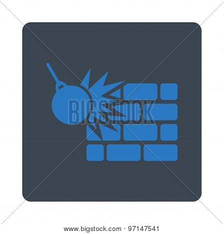 Destruction icon. Vector style is smooth blue colors, flat rounded square button on a white background. poster