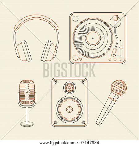 Set Of Icons - Microphones, Speakers, Turntable