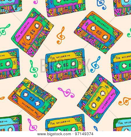 Seamless Pattern With Colorful Cassettes. Hippie Style. Doodle Musical Texture For Wrapping, Fabric.